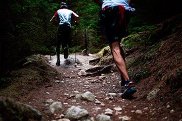 Hombres subiendo camino en el monte senderismo
